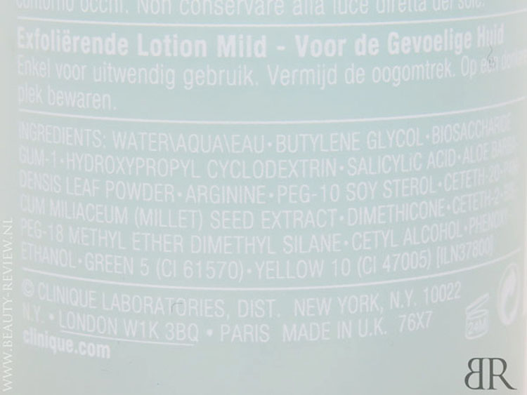 Clinique Mild Clarifying Lotion Ingrediënten